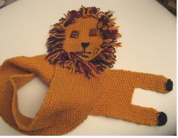 gratis Schal stricken--Löwen-Motiv stricken