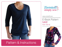 Basic shirt Nike – pattern and E-Book, sizes 158 – women´s 46 / Kids M – women´s L / Xl