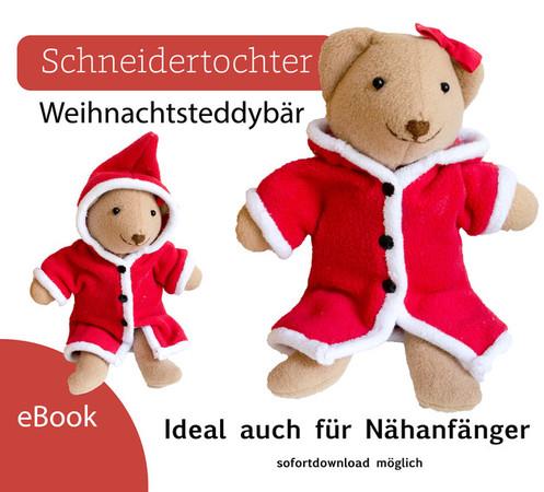 Nähanleitung Weihnachtsteddy - Teddybär mit Weihnachtsmannmantel ...