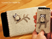 "Crochet Mobile Phone Bag - Tablet Case - Smartphone and Handy Case with owl ""Athene"""