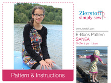SANEAs raglan dress / shirt / tunic pattern, sizes 110-152 / 5-12 yrs. / Instant Download