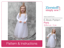 Paris dress / tulle dress, sizes 110-152 / 5-12 yrs. / Instant Download