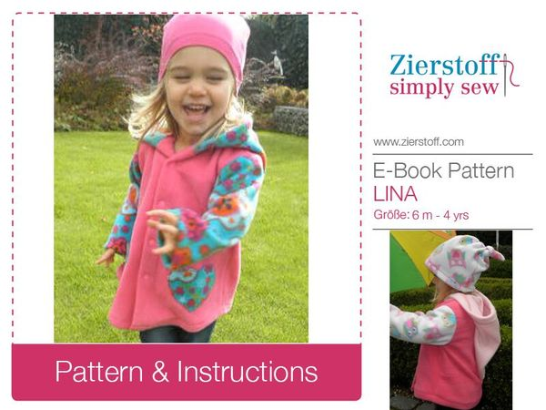 LINAs hooded jacket, sizes 62-104 / 6 mo. – 4/5 yrs. / Instant Download