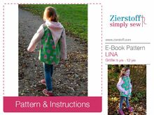 LINAs hooded jacket, sizes 110-152 (5-12 yrs.) / Instant Download