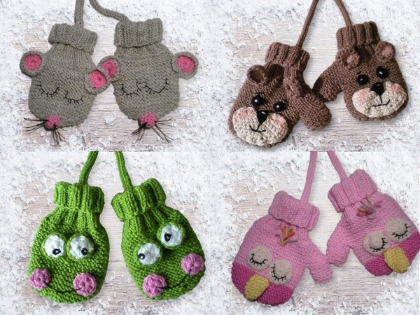 Strickmuster Handschuhe für Babys--Tiermotive