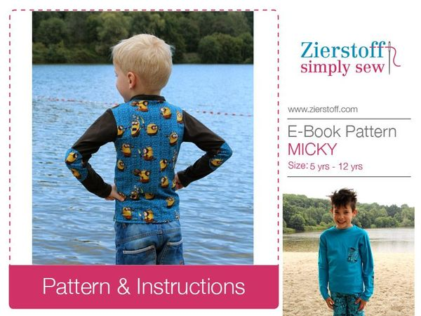 MICKYs slim-fit T-shirt, long or short sleeves & turtleneck, sizes 110-152 / 5-12 yrs. / Instant Download