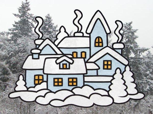 Fensterbild winterstadt bastelvorlagen mit anleitung - Bastelvorlagen fensterbilder ...