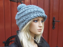 pattern knitted cap, bobble cap, easy and quick to knit, one size