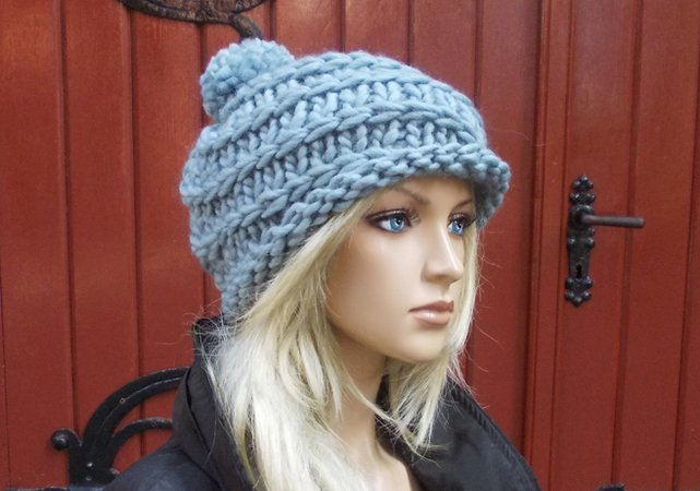 knit pattern, knitted cap, bobble ha/cap, easy and quick to knit, one size