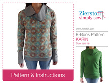 KARINs shawl collar or turtleneck shirt pattern, sizes 158 – women´s size 46 / Kids M – women´s L / XL.