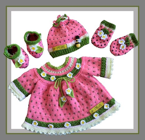 Watermelon Baby Dress/Jacket, Booties, Bonnet and Mittens set