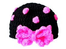 Crochet Polka Dot Hat With Bow- Baby - Adult Size