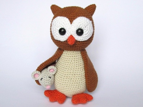 Owl Helga with Mouse Amigurumi Crochet Pattern