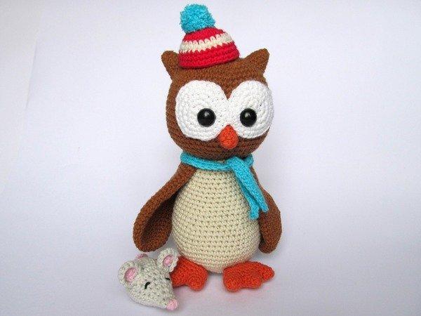 Owl Helga with Mouse Amigurumi Crochet Pattern