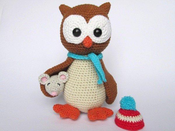 owl helga with mouse amigurumi crochet pattern. Black Bedroom Furniture Sets. Home Design Ideas