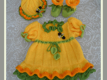 Daffodil Baby Dress, Booties and Bonnet Hat