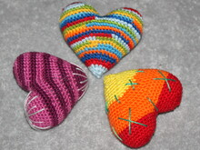 Colourful crochet hearts