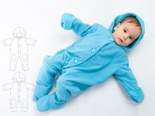 DORIAN Lined baby overall pattern with hood, romper jumpsuit with feet and arm wrap. Hooded romper onesie sewing pattern by Patternforkids