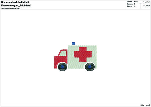"Stickdatei ""Krankenwagen"" Pes Format (Deco, Brother, Babylock)"