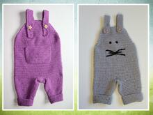 crochet pattern baby dungaree, size 56-86