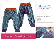 LOUs baggy trouser pattern with a bottom inlet, sizes 62-104 / 6 mo.- 4/5 yrs.
