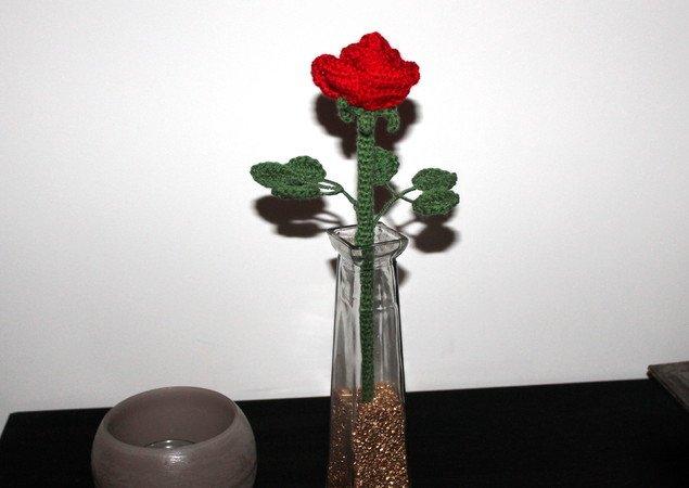 Rose Häkeln Blume Stiel Blätter Häkeln