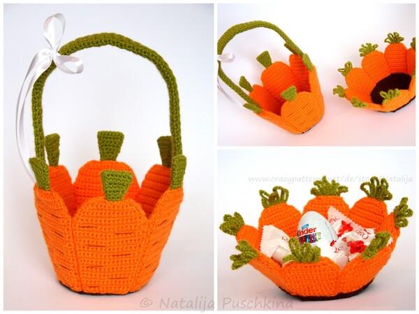 Korb Utensilo Häkeln Karotten Style