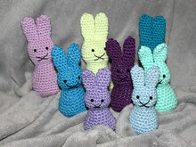 crochet little easter bunnies in three different sizes
