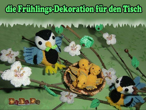 Blaumeisen + Küken + Nest + Blüten häkeln