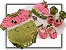 Watermelon Oneise Romper with booties,mittens & bonnet