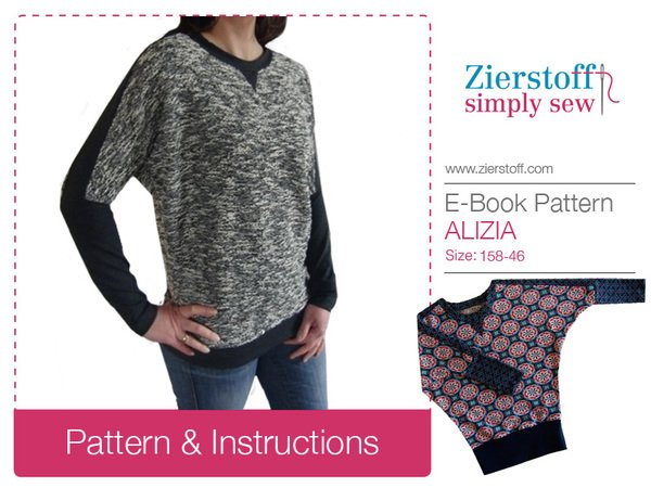 ALIZIAs batwing shirt – pattern & E-Book, sizes 158 – women´s 46 / Kids M – women´s L / Xl