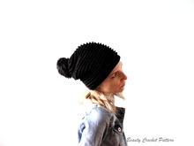 Crochet Slouchy Beanie with Pom Pom