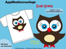 "Applikationsvorlage ""Eule Greta"""