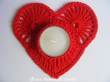 Crochet heart candle coasters, tealight holder