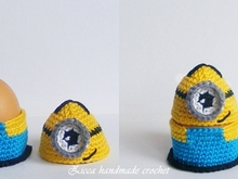 Crochet minion egg cozy, egg holder