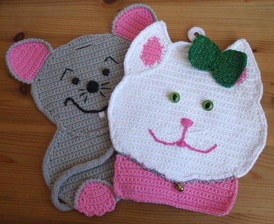 Katz Und Maus In Der Küche Als Topflappen Oder Dekoration