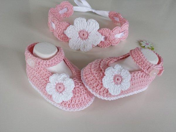 Crochet Babyset Shoes Headband