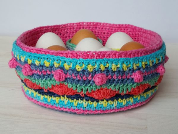 Crocheted Colorful Egg Basket with Egg Cups