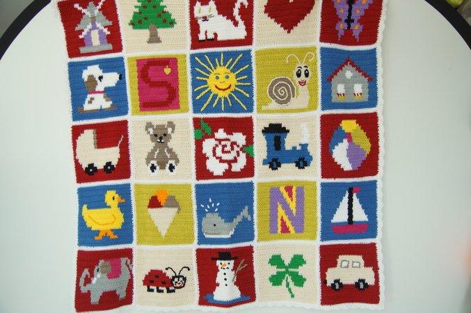 Granny Square Motiv Wal Für Babydecke Ca 15x15 Cm