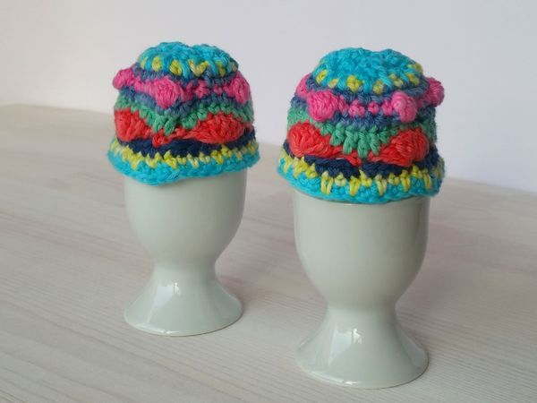 Crocheted Colorful Egg Cozies