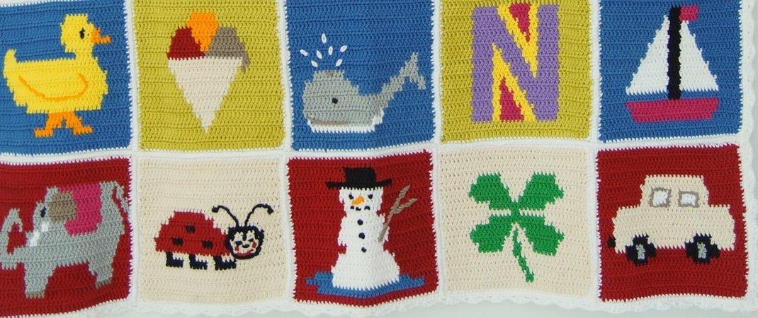 Granny Square Häkelanleitung - Motiv Kleeblatt - für Babydecke