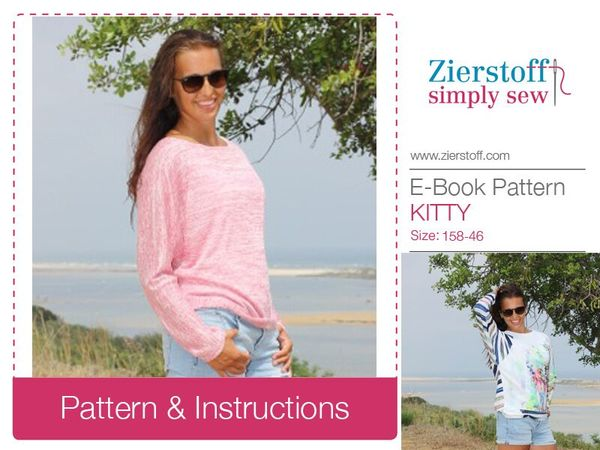 KITTYs shirt with batwing sleeves pattern, sizes 158 - women´s 46 / Kids M - women´s L/XL