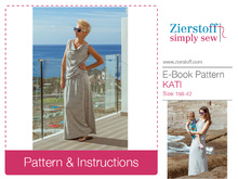 KATIs waterfall neckline dress / shirt pattern – pattern & E-Book, sizes 158 – women´s 42 / Kids M – women´s M/L
