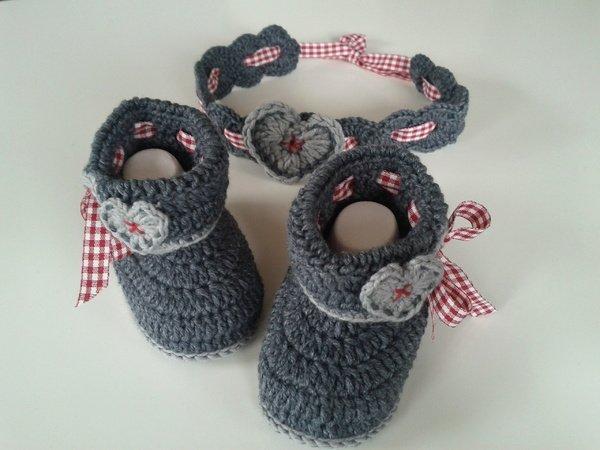 Crochet Babyset Shoes Headband Bavarian Style