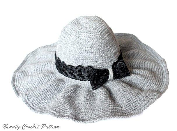 Häkelanleitung Hut mit breiter Krempe