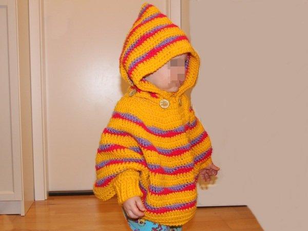 Kinder-Poncho häkeln - mit Kragen oder Kapuze