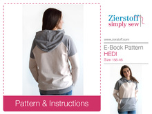 Hedis sweatshirt / hoody pattern, sizes 158 – 42 (Kids M – women´s M/L)