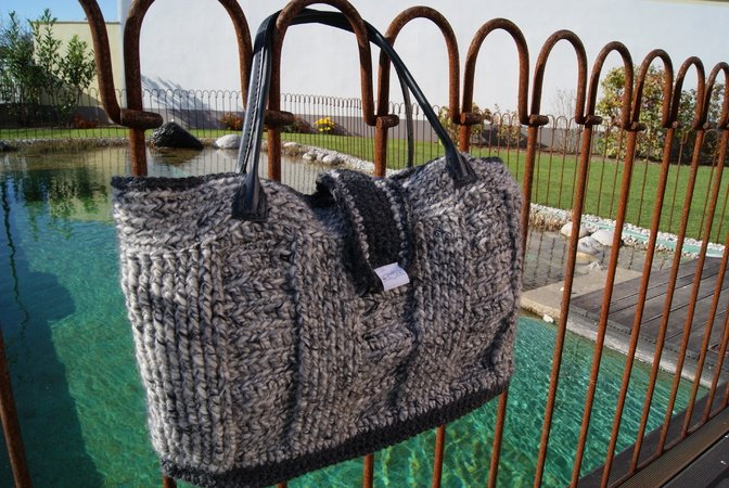 Tasche häkeln --- elegantes Muster + Henkel