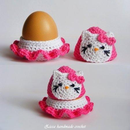 Häkelanleitung Hello Kitty Eierwärmer Eierbecher