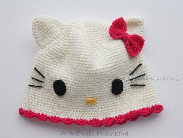 Mädchen-Mütze häkeln ++ Katzenmotiv drauf